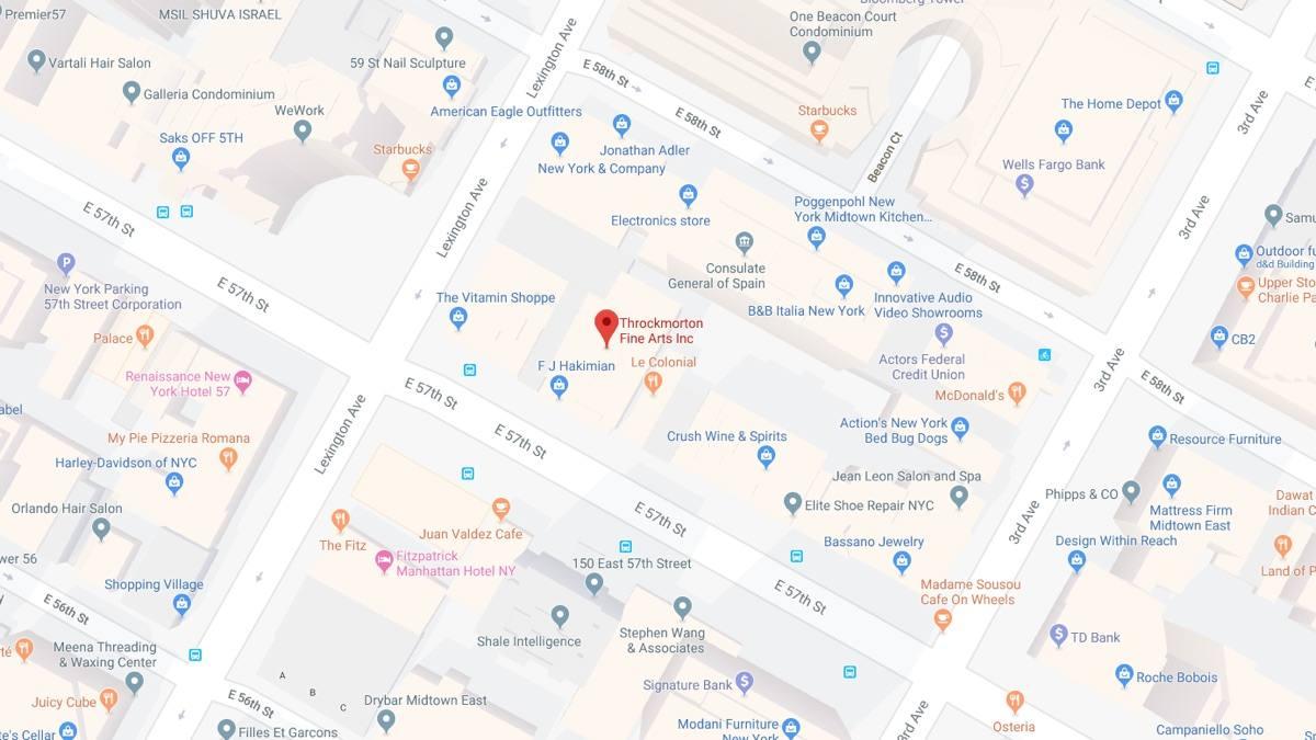 Throckmorton Fine Art Gallery NYC Map